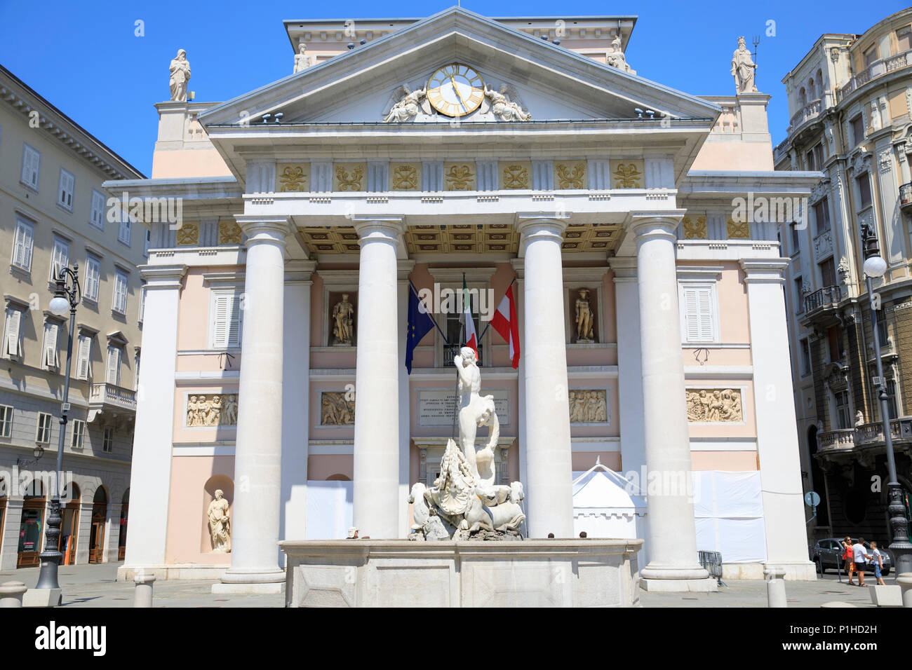 Building of the Chamber of Commerce in Piazza della Borsa, Trieste, Italy. - Stock Image