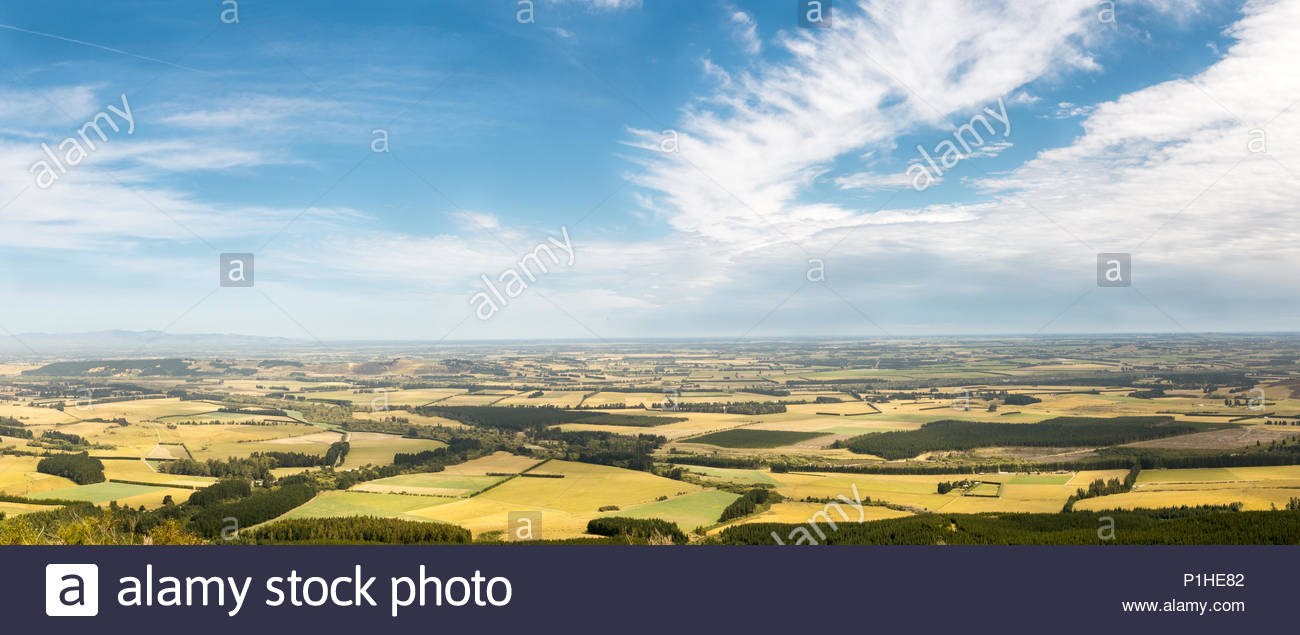 View to Canterbury plains from mt Thomas, Canterbury, New Zealand - Stock Image