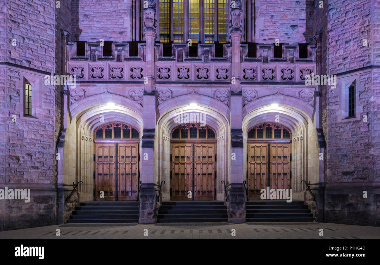 The entrance to the Bonython Hall is majestic, particularly at night with the coloured lights. Stock Photo