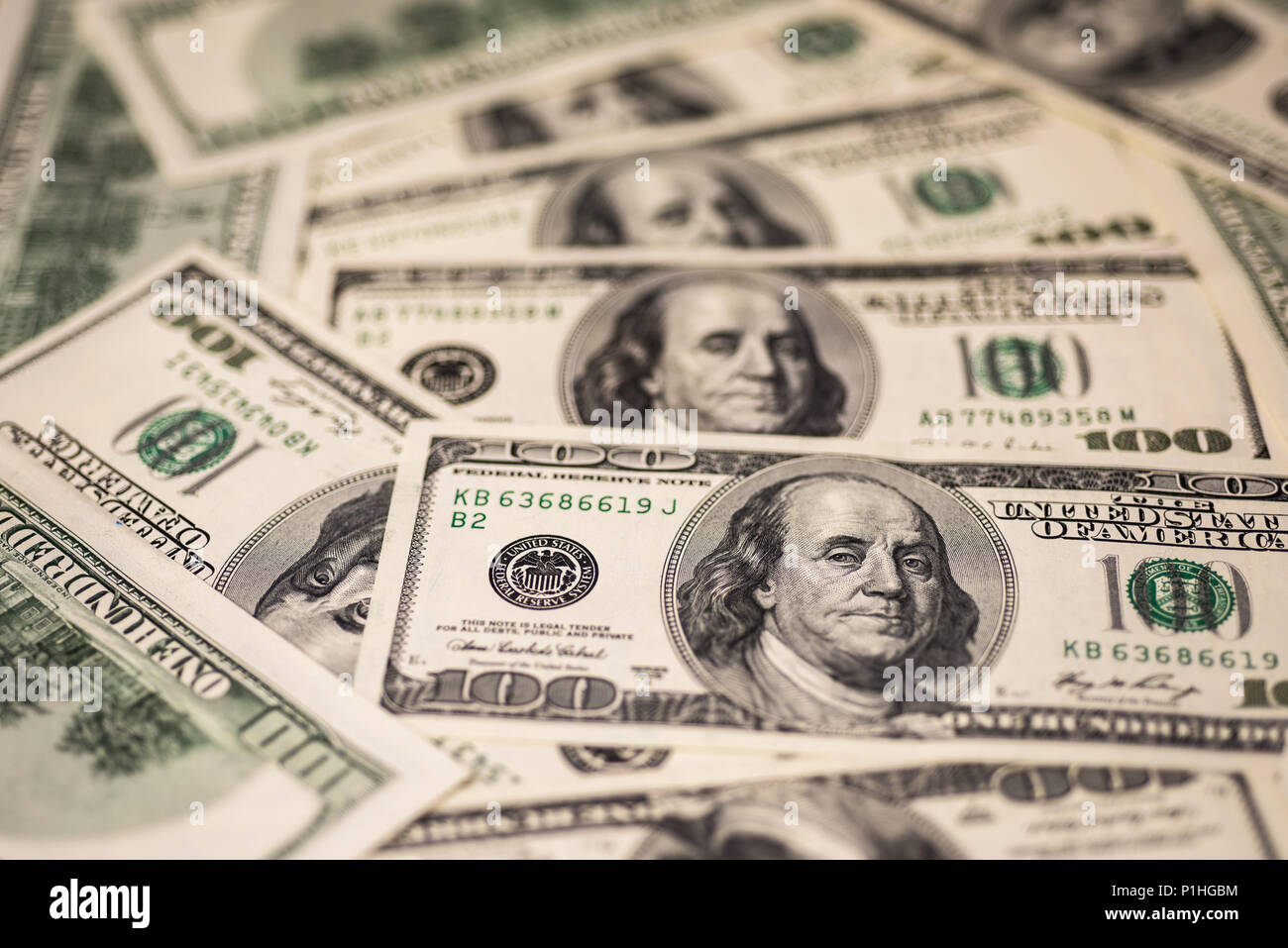 Background of one hundred dollar bills - Stock Image