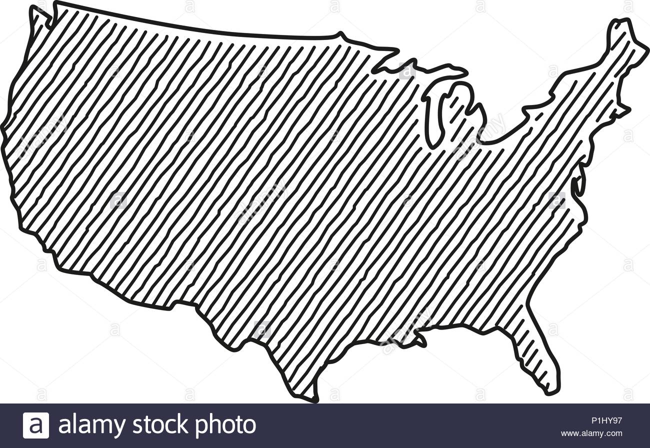 Hand drawn vector drawing of a scribbled Map of the USA Stock Vector ...