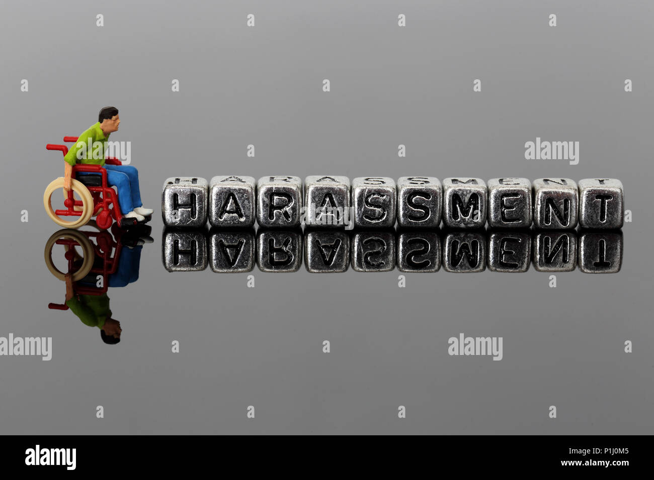 Miniature scale model man in a wheelchair with the word harassment on beads reflected on a dark background - Stock Image