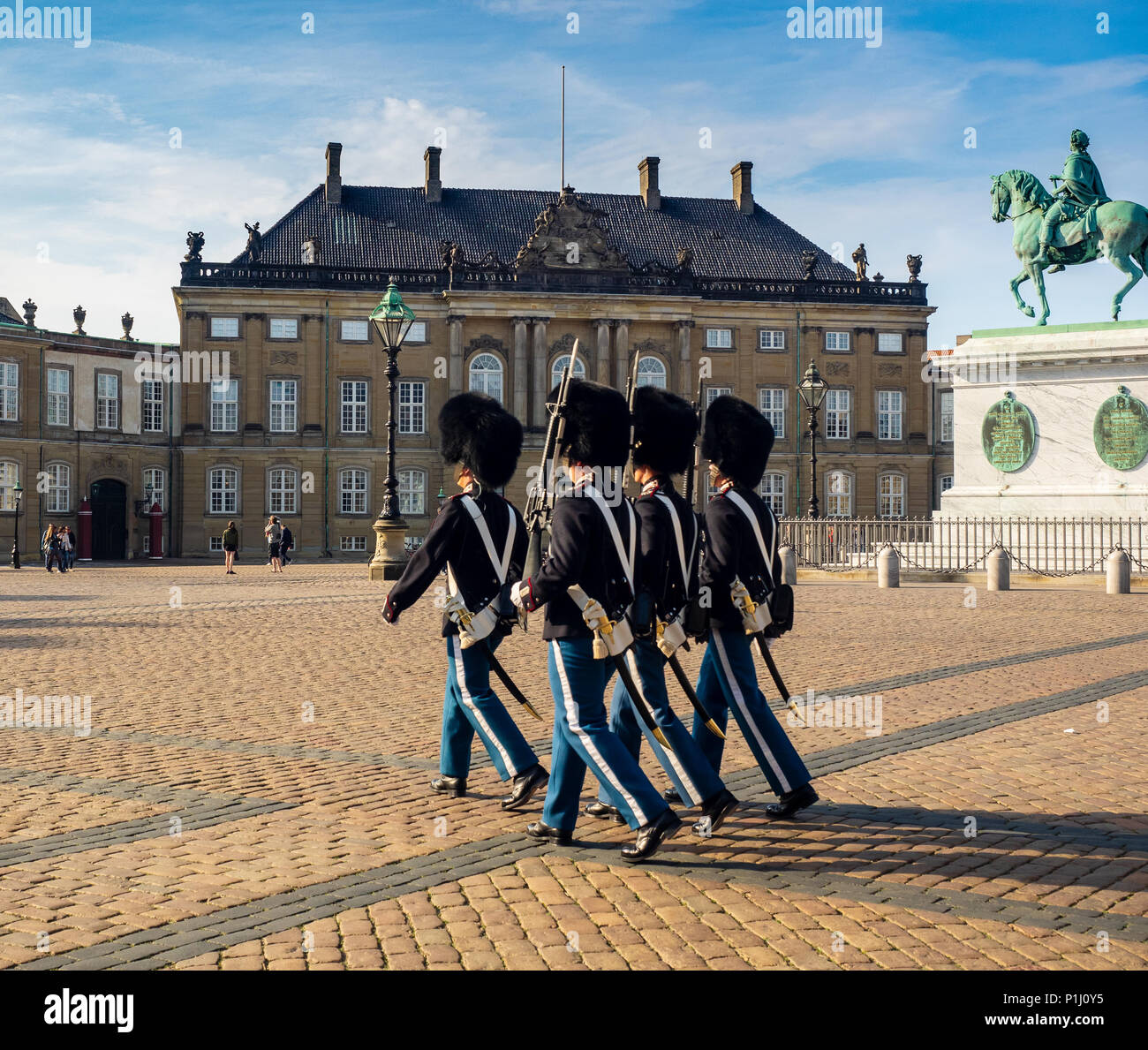 Changing of the Guards at Amalienborg Palace, home of the royal family,  in Copenhagen, Denmark, - Stock Image