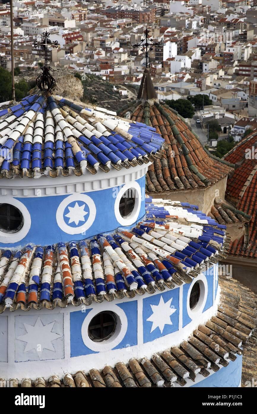 SPAIN - El Altiplano (district) - MURCIA. Yecla; Santuario del castillo (donde se celebra 'La Alborada' cada 7 de diciembre); detalle de cúpula. - Stock Image