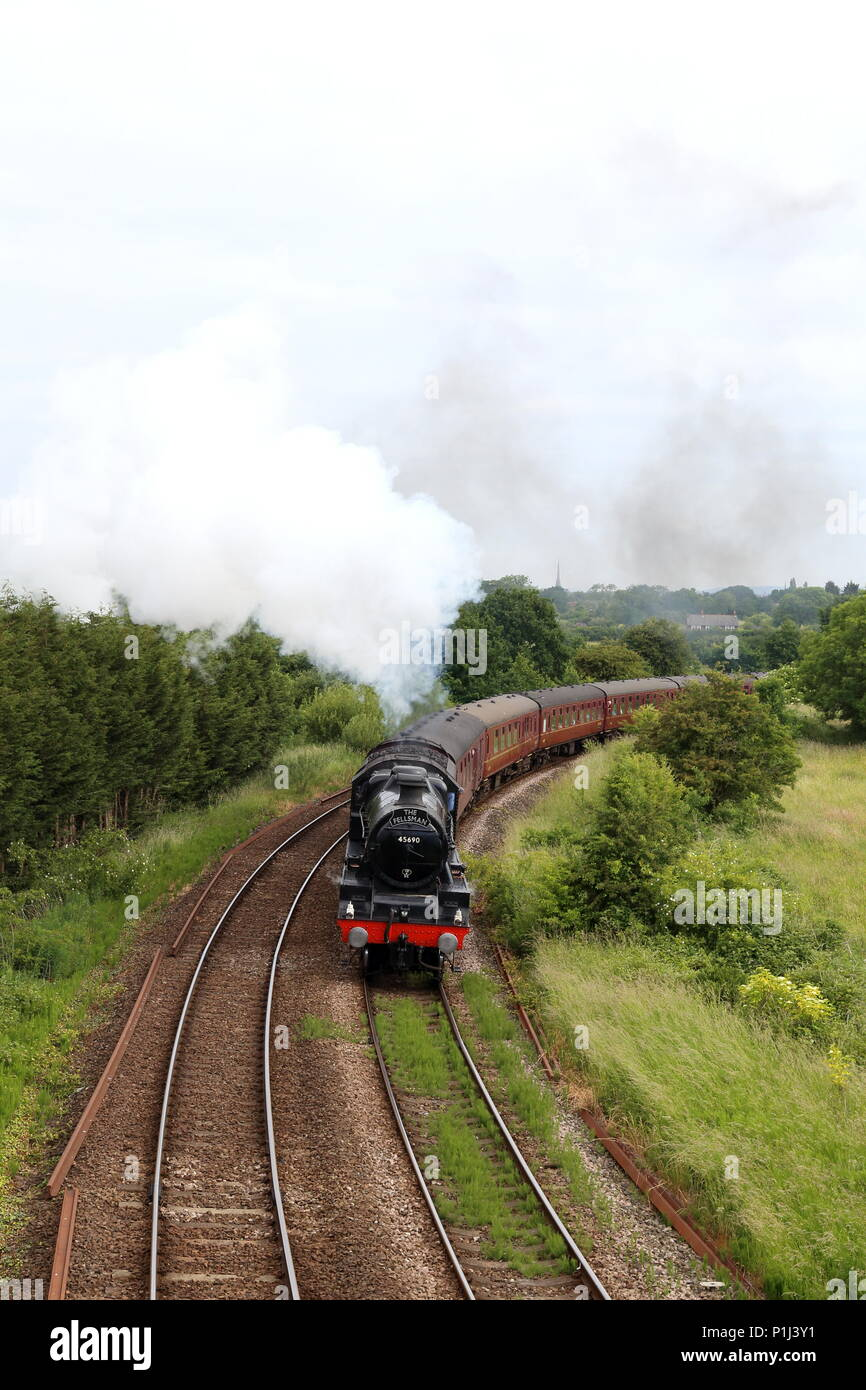 Fellsman steam train travailing the Farington Curve leaving Preston on its way to the Settle Carlisle route. - Stock Image