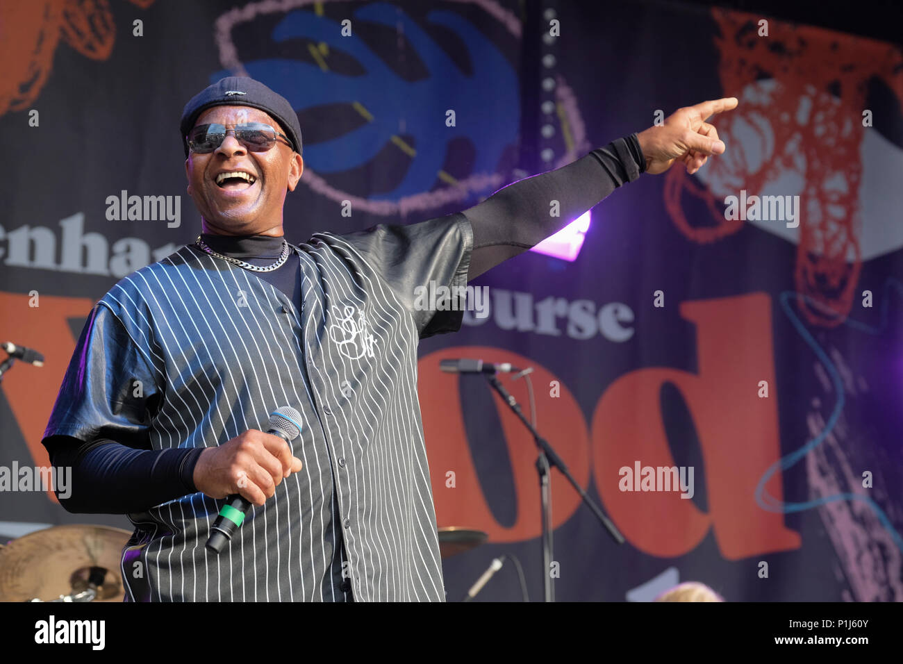 Dave Smith of The Real Thing perform at the Wychwood Festival, Cheltenham, UK. June 1, 2018 - Stock Image
