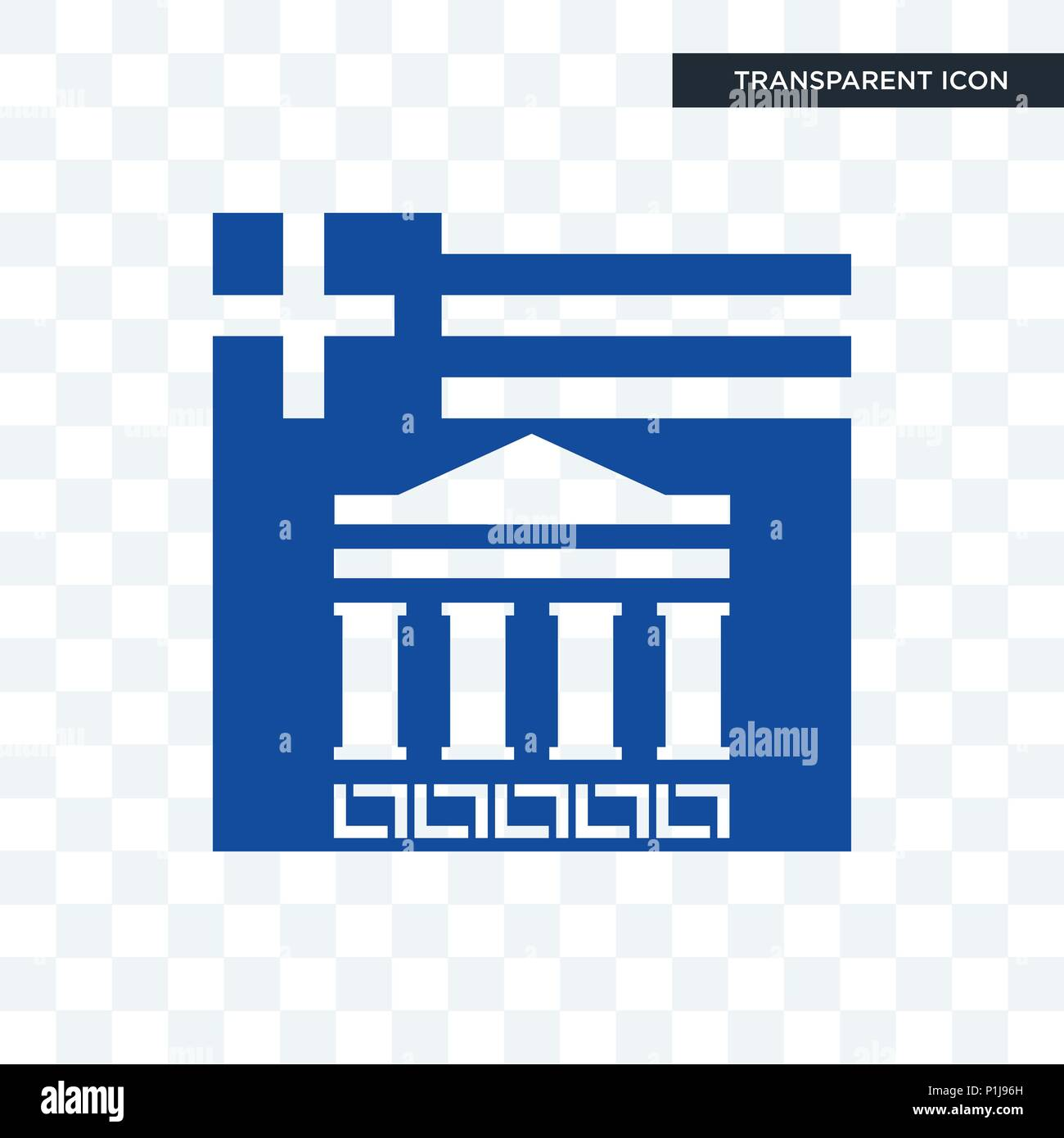 greek vector icon isolated on transparent background, greek logo concept - Stock Image