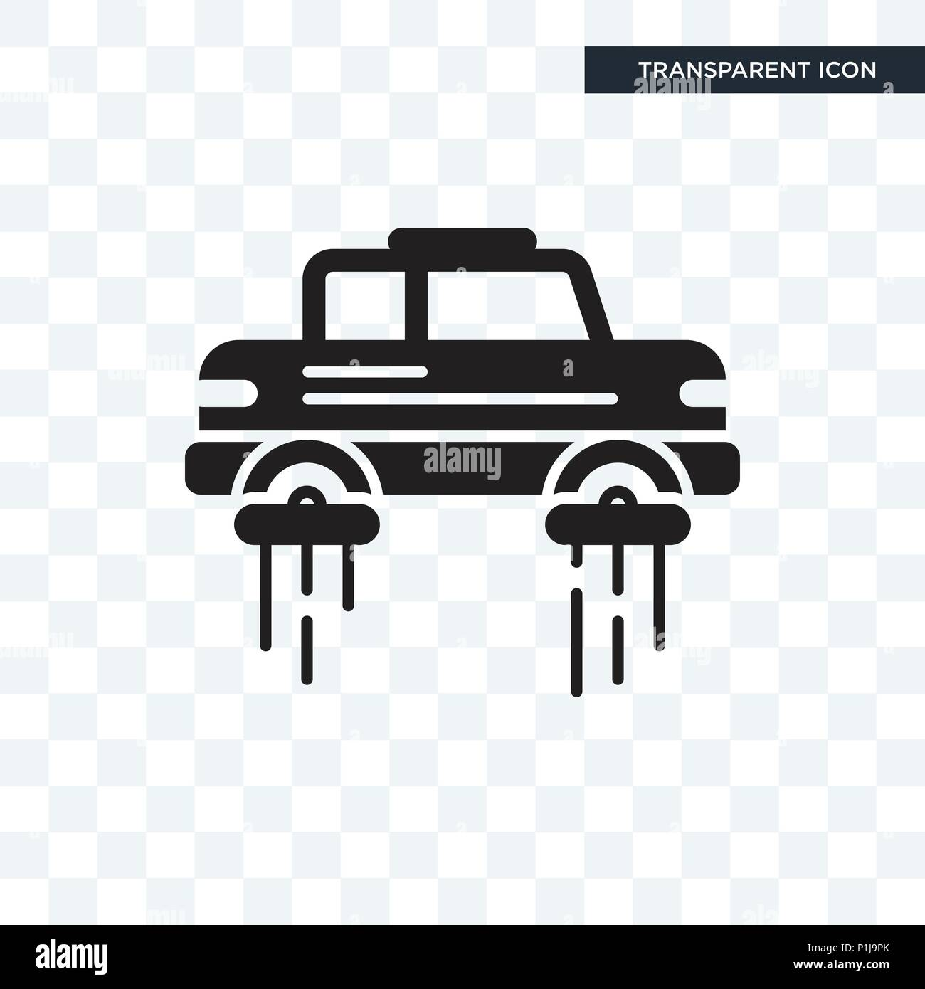 Flying car vector icon isolated on transparent background, Flying car logo concept Stock Vector