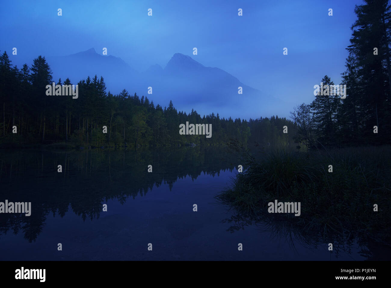 Hochkalter massif at blue hour, Hintersee, Berchtesgaden, Bavaria, Germany Stock Photo
