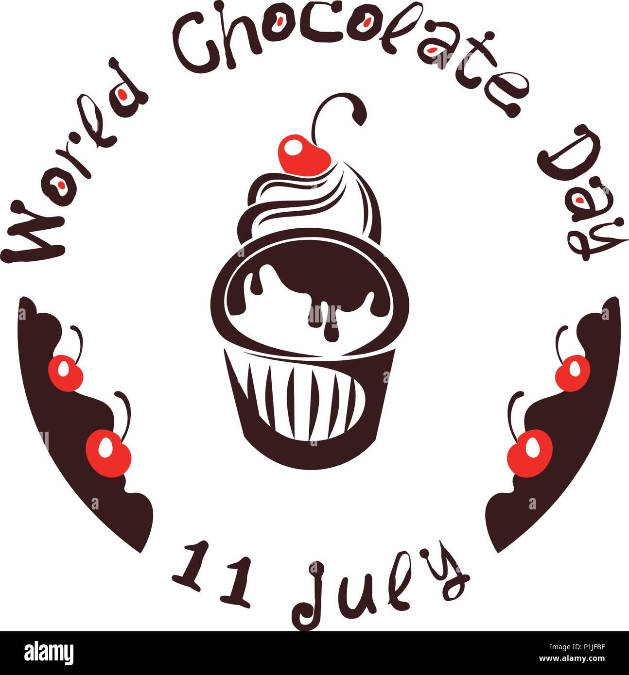 World Chocolate Day. July 11. Chocolate cake. Vector illustration - Stock Image