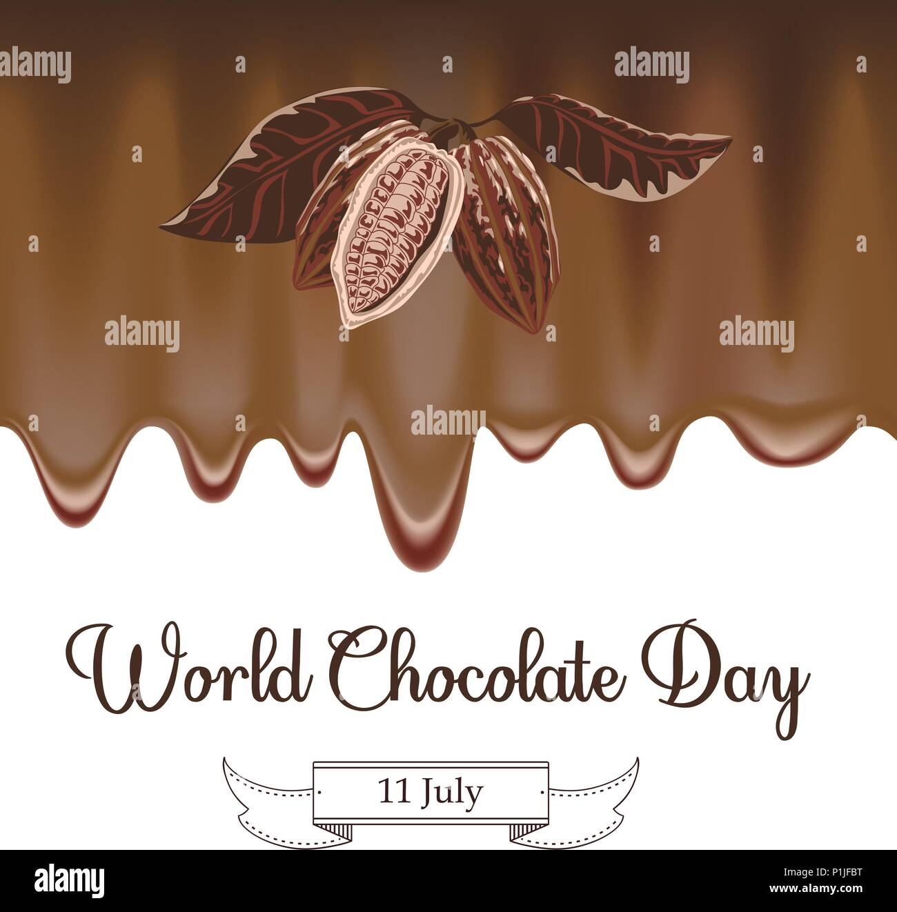 Vector illustration for World Chocolate Day in creative mesh background. Happy chocolate day handwritten lettering. - Stock Vector