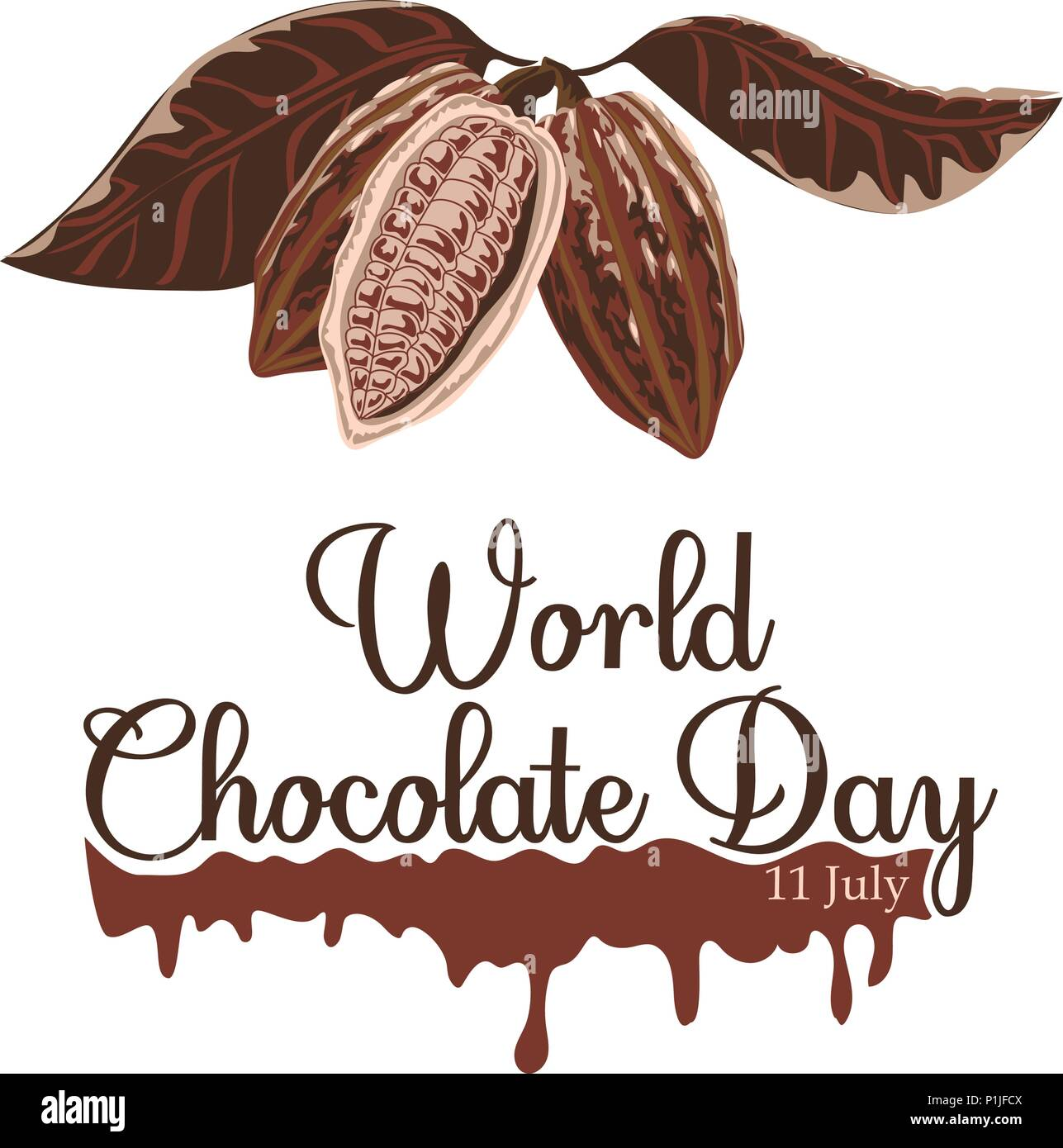 Vector illustration for World Chocolate Day in creative background. Happy chocolate day handwritten lettering. - Stock Vector