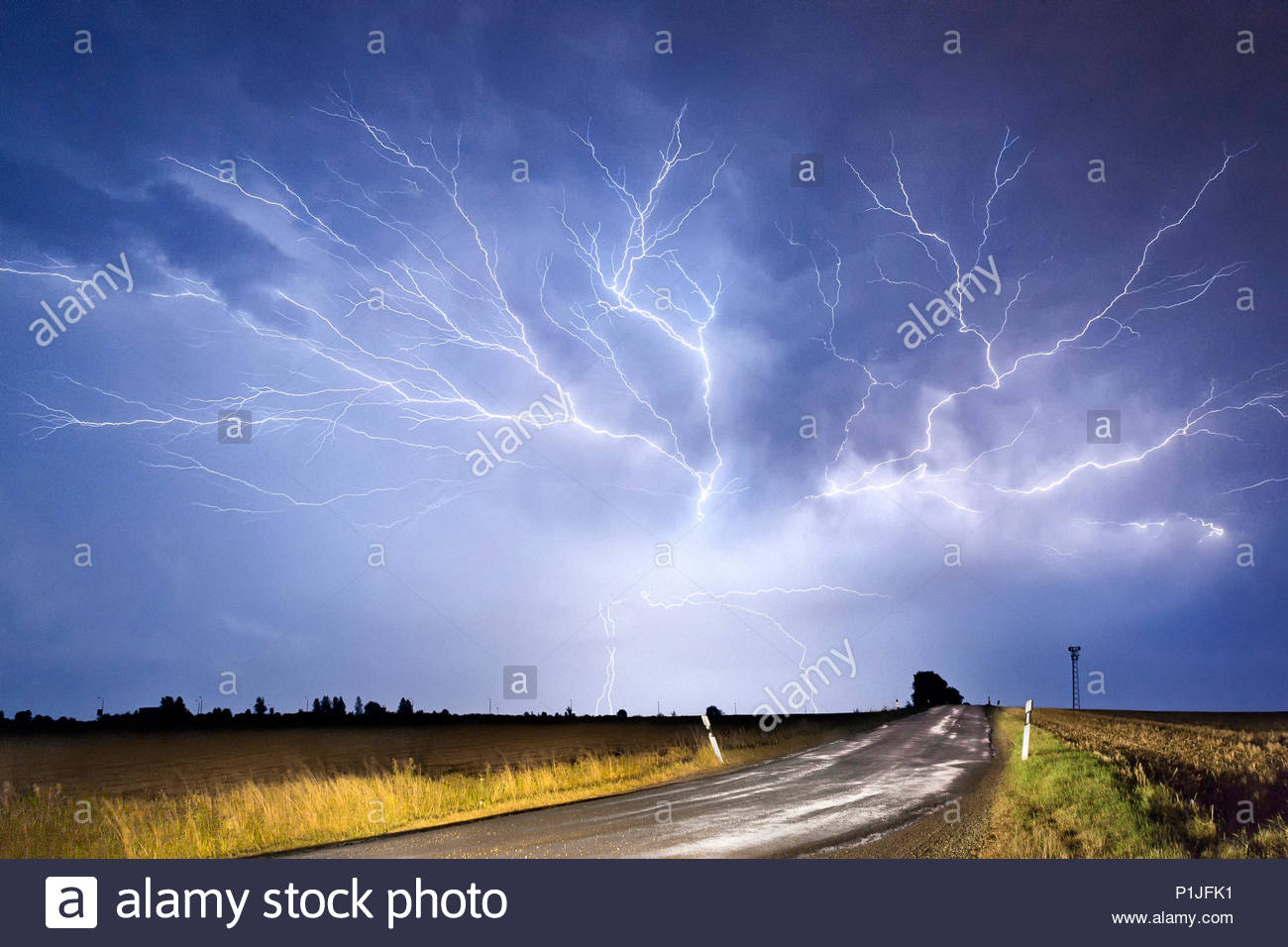 Crawler, cc- and cg-lightning on August 22nd 2012 on the backside of a thunderstorm, Jägerberg, Jena, Thuringia, Germany - Stock Image