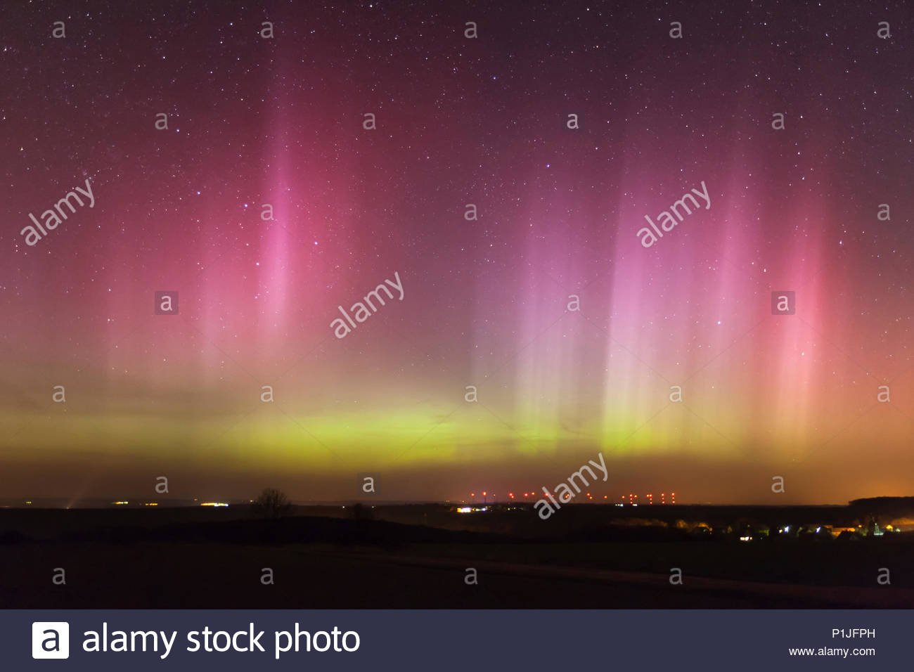 Extraordinary Northern lights, aurora borealis in Europe on March 17th/18th 2015, Rödigen, Lehesten, Jena, Thuringia, Germany - Stock Image