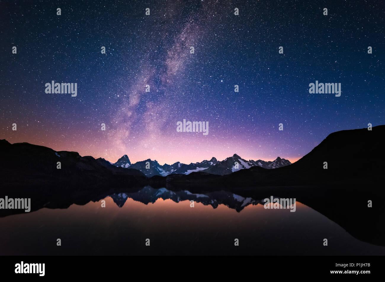 Milky Way over Lac de Fenetre, Valais, Switzerland - Stock Image