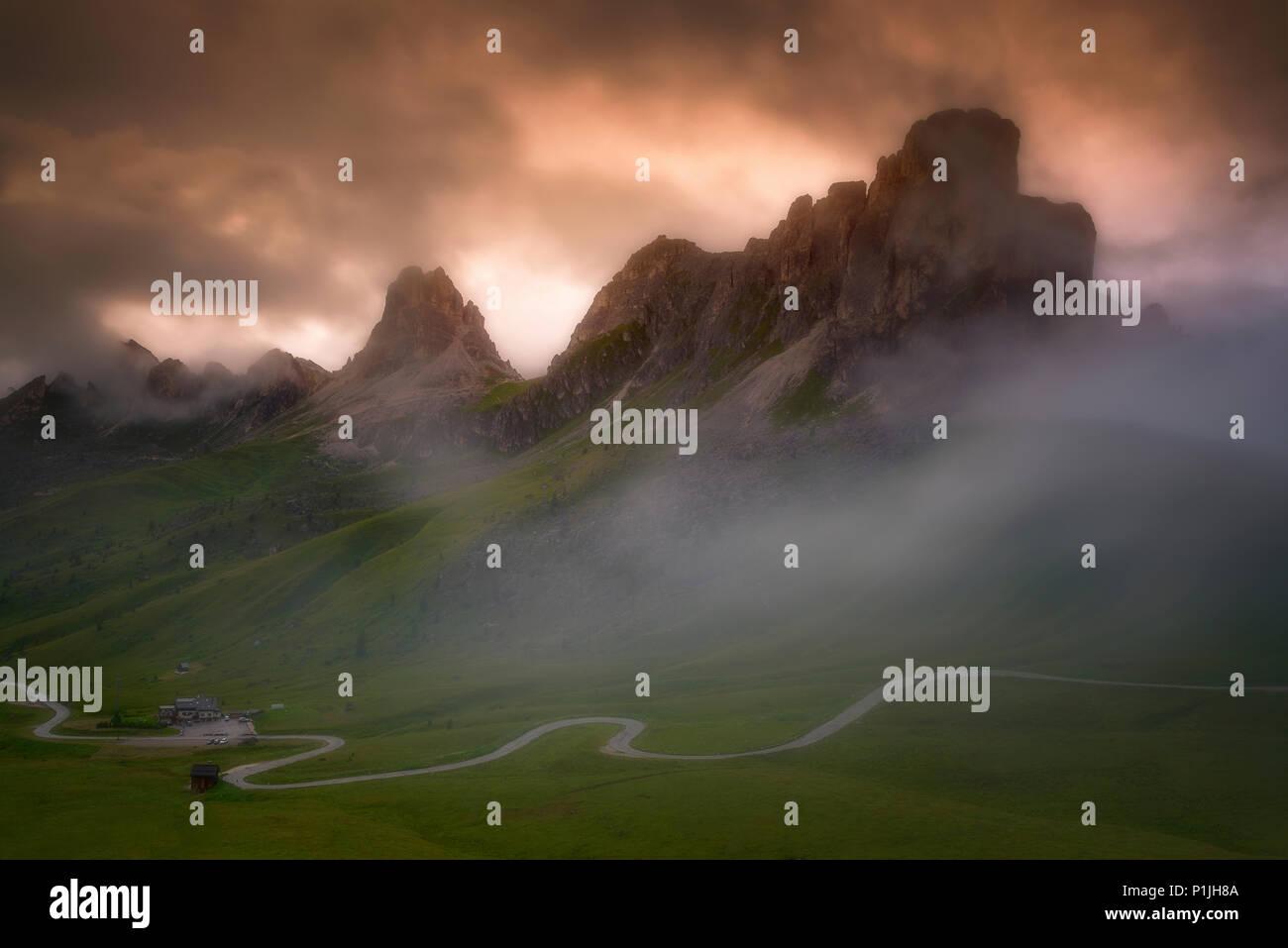Fog at Passo di Giau in the Dolomites, district of Belluno, Italia, Europe - Stock Image