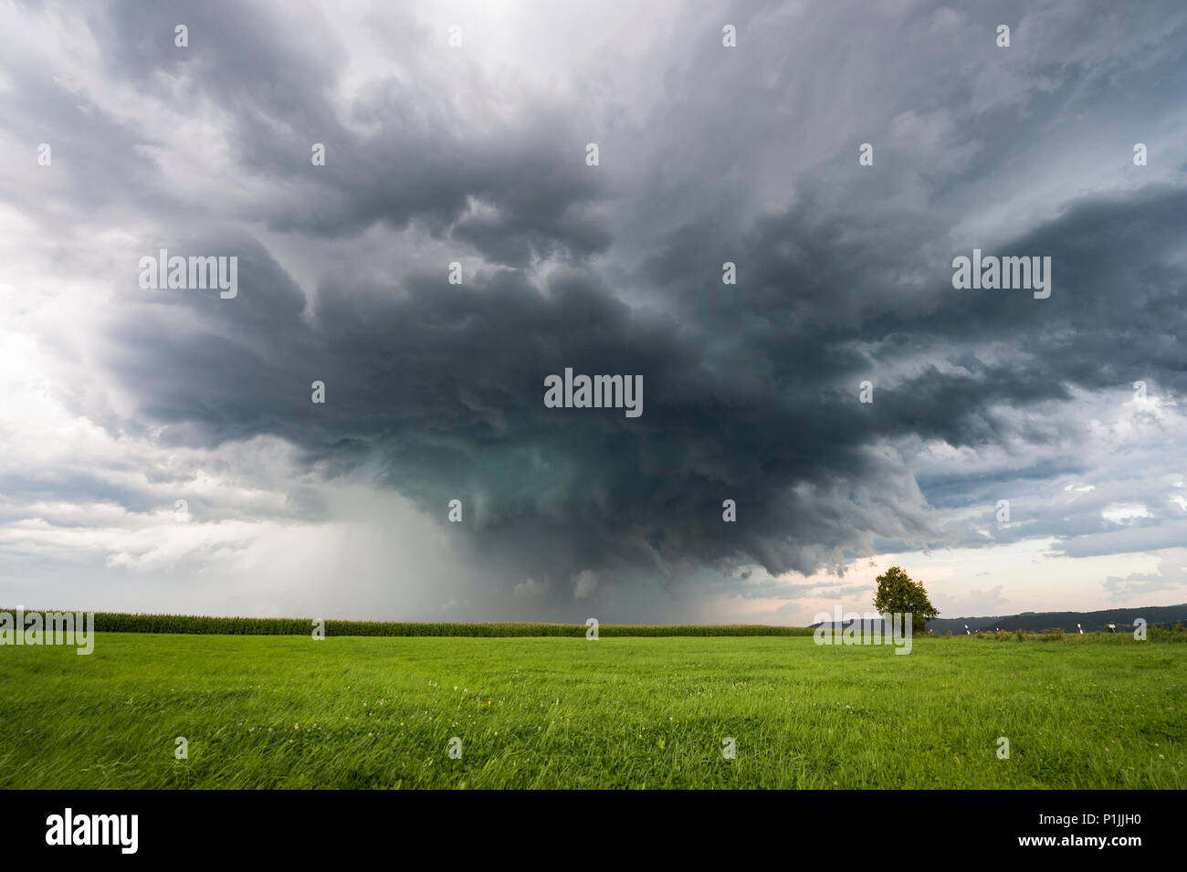Green glowing precipitation core of a supercell next to a street near Altdorf, Nuremberg, Bavaria, Germany - Stock Image