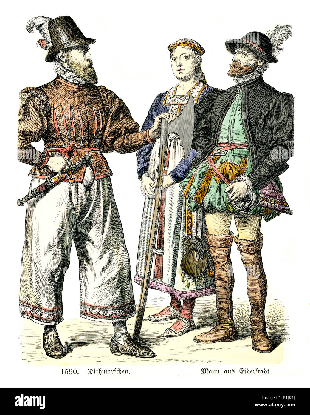 Vintage engraving of History of Fashion, Costumes of Germany 16th Century. Man and woman of Eiderstedt, Schleswig-Holstein and man of Dithmarschen, 15 - Stock Image