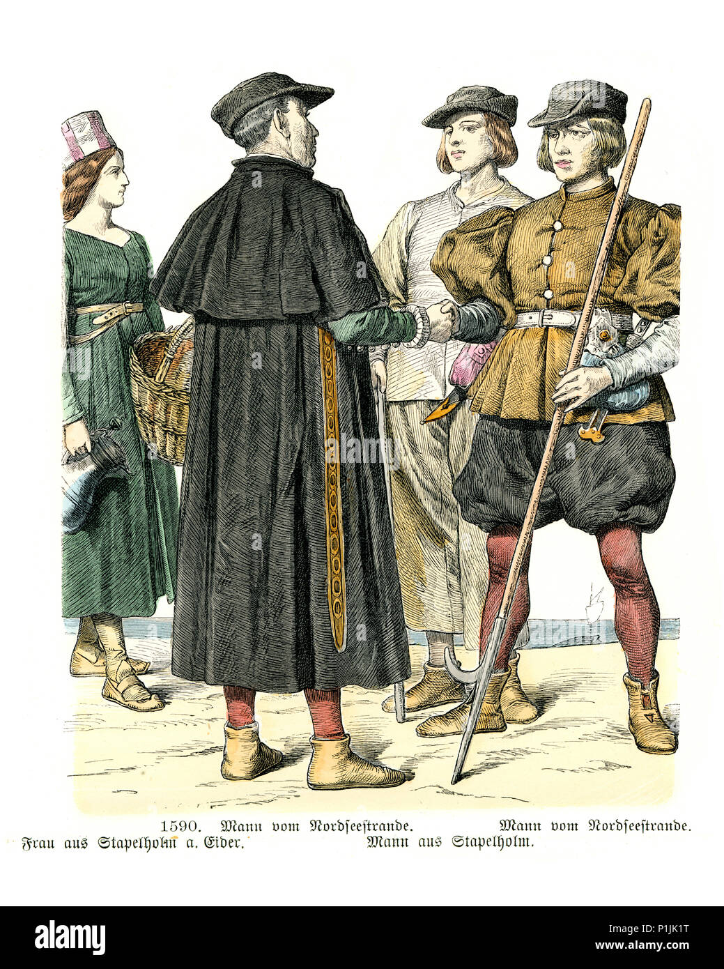 Vintage engraving of History of Fashion, Costumes of Germany 16th Century. Man of Nordfriesland, woman of Stapelholm, Schleswig-Holstein - Stock Image