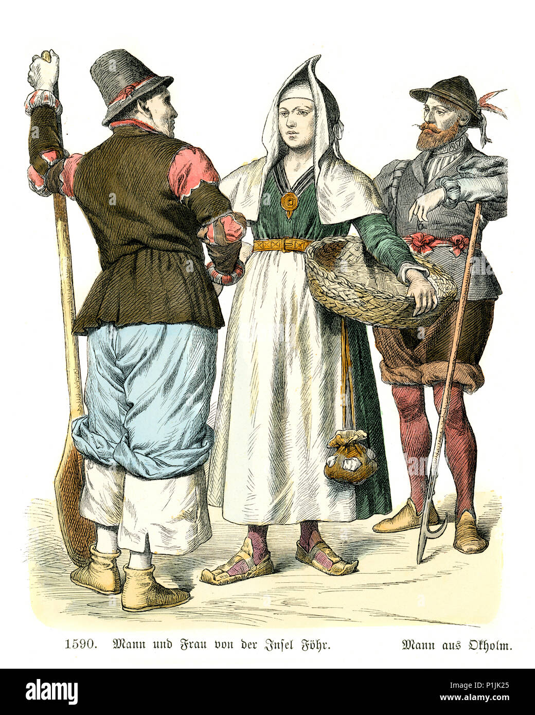 Vintage engraving of History of Fashion, Costumes of Germany 16th Century. Man and woman of Fohr one of the North Frisian Islands on the German coast  - Stock Image