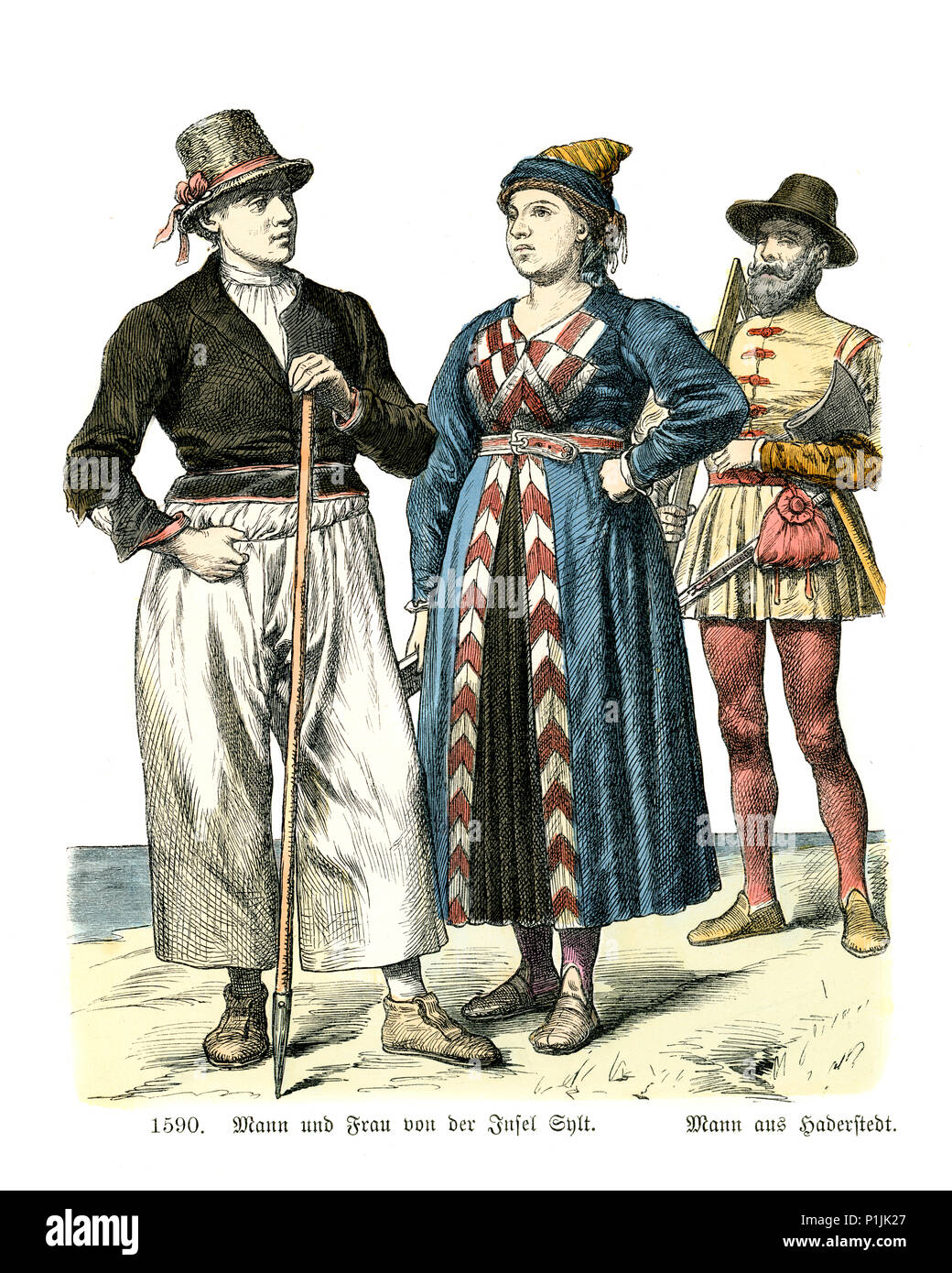 Vintage engraving of History of Fashion, Costumes of Germany 16th Century. Man and Woman of the Isle of Sylt, Schleswig-Holstein - Stock Image