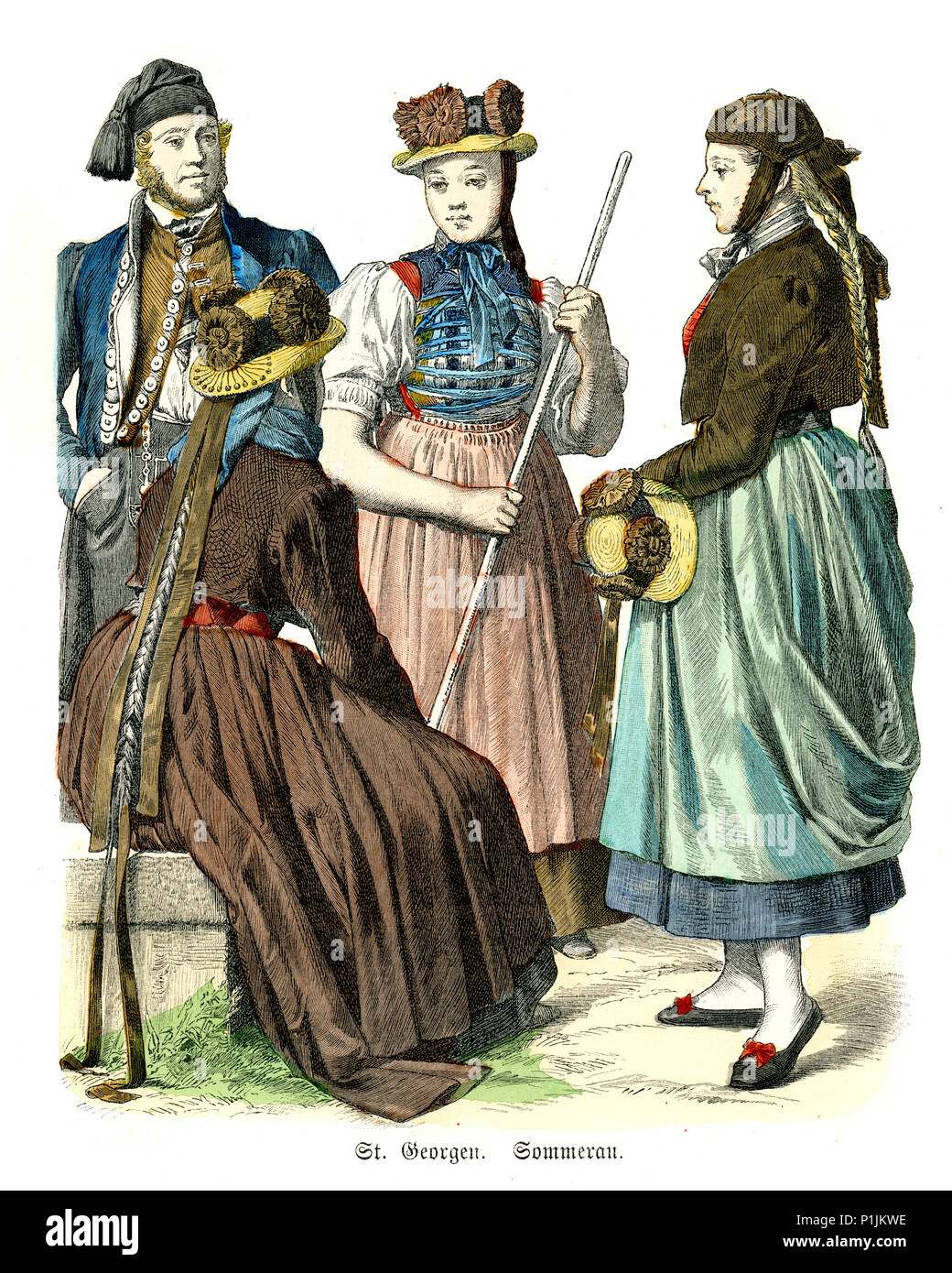Vintage engraving of History of Fashion, Costumes of Germany, Baden, St. Georgen im Schwarzwald 19th Century. - Stock Image
