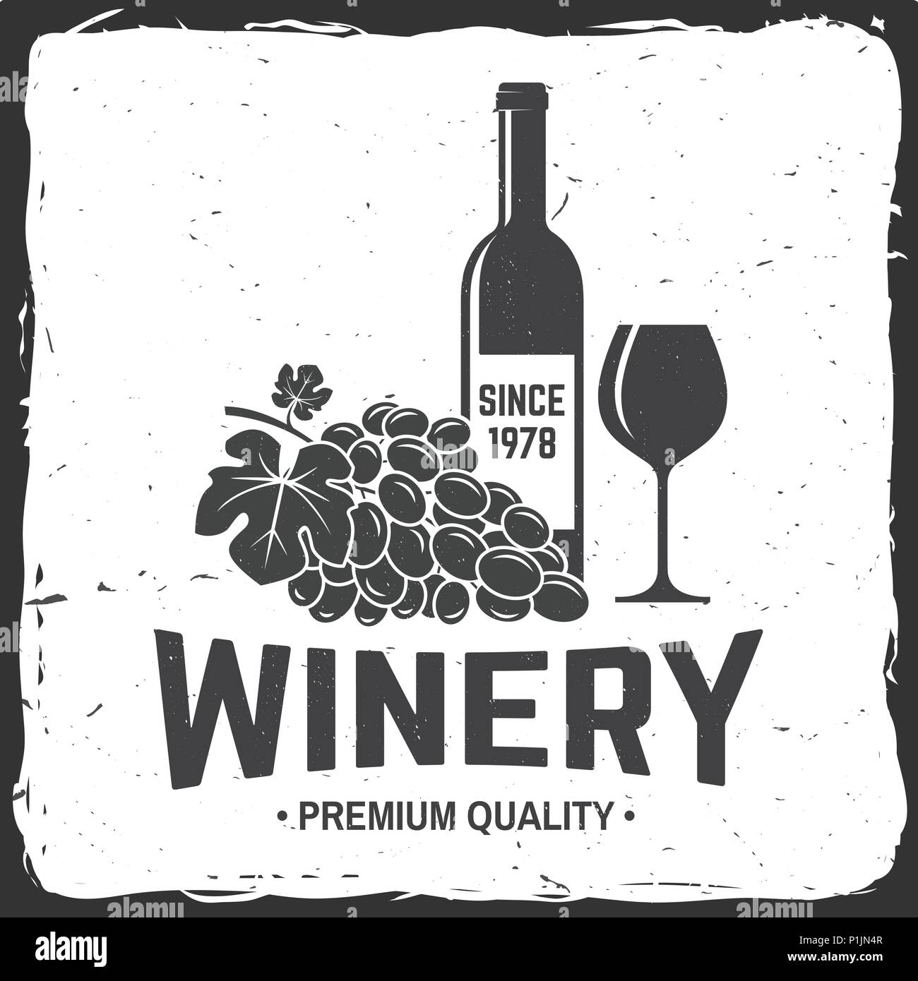 winery badge sign template or label vector illustration vintage