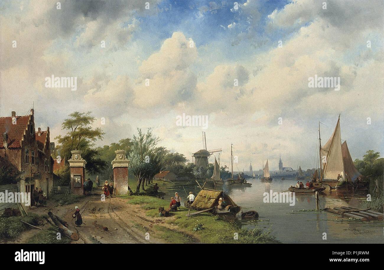 Leickert  Charles Henri Joseph - River Landscape in Summer Stock Photo