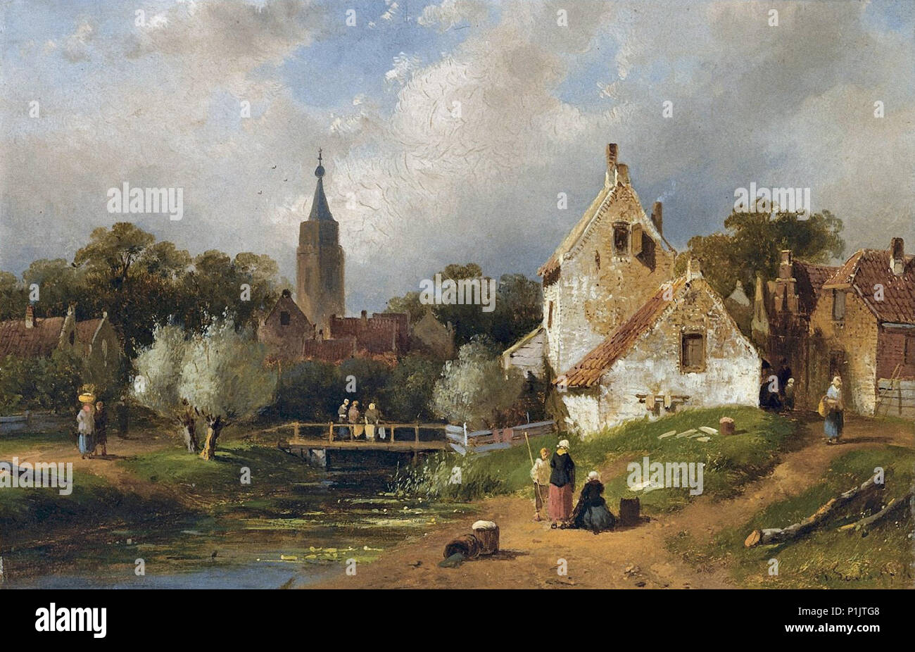 Leickert  Charles Henri Joseph - View of a Riverside Village in Summer Stock Photo