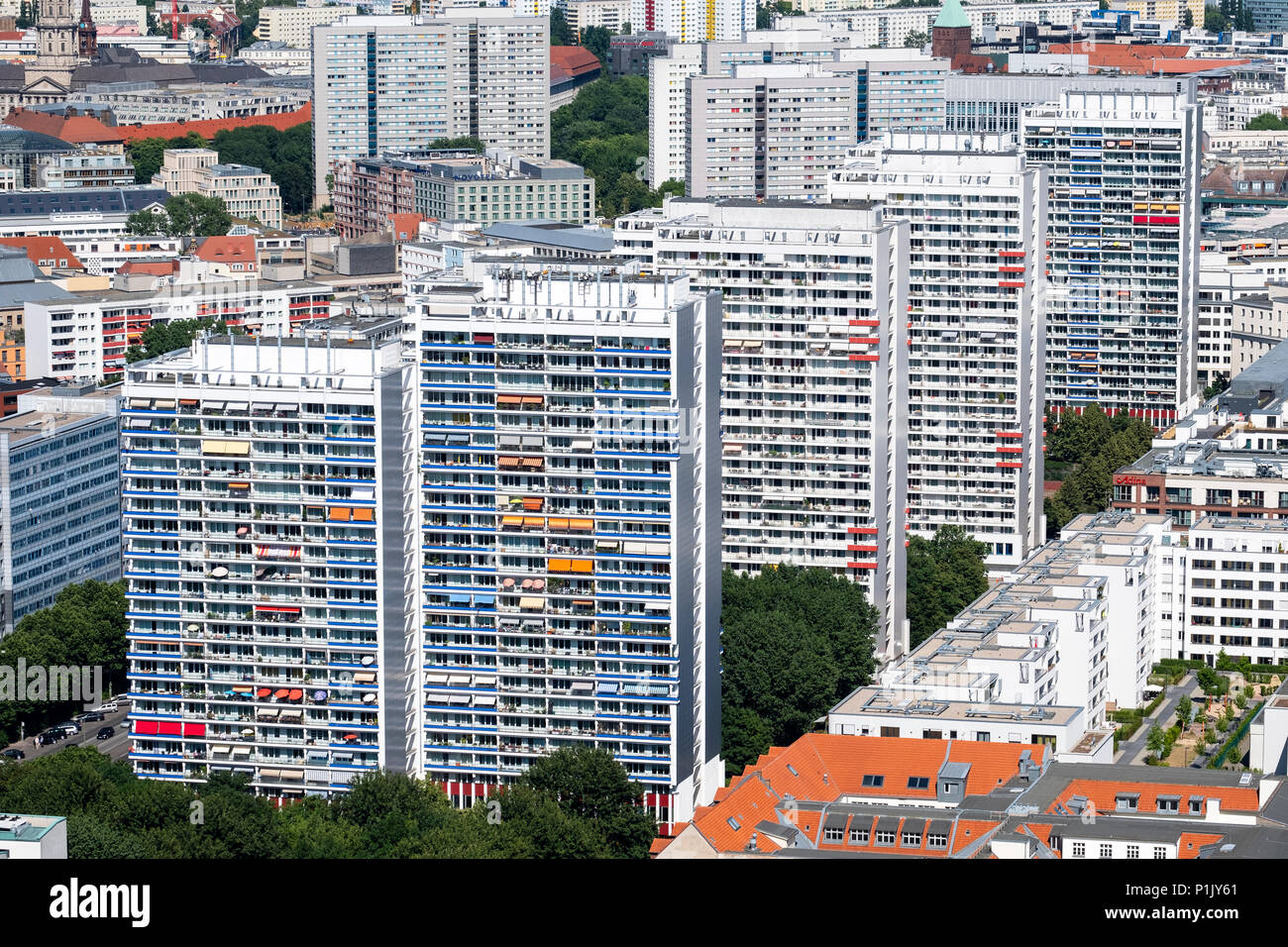View of  Berlin with high rise apartment buildings , Mitte, Berlin, Germany - Stock Image