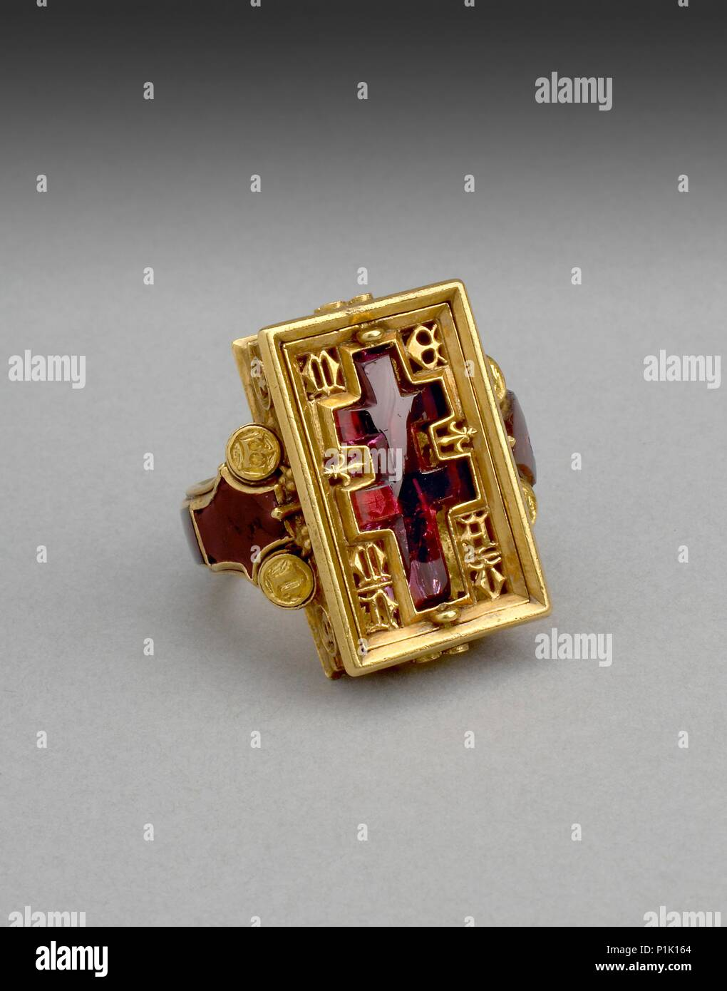Reliquary ring (The Thame Ring), 14th century. Double-armed cross forms the central motif and the ring cover can be removed to reveal a cavity that ma - Stock Image