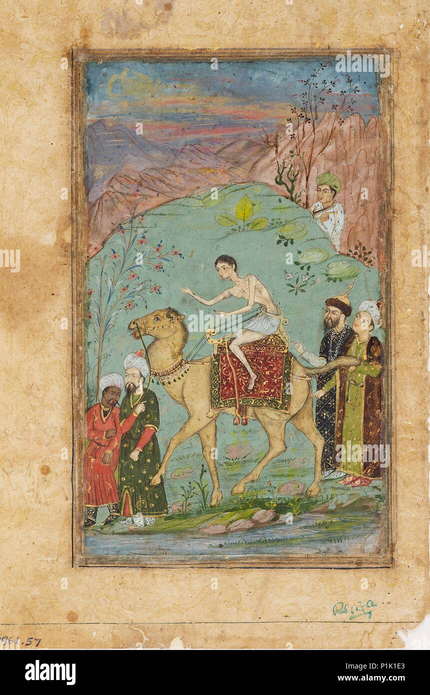 Majnun on a camel, 19th century.  Dimension: height x width: mount 40.2 x 27.4 cmheight x width: page 23.3 x 17.5 cmheight x width: painting 17.7 x 10 - Stock Image
