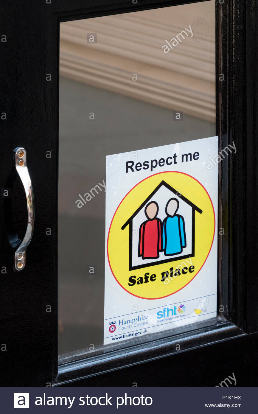 Respect Me - Safe Place sticker on a door to business premises, Hampshire, England, UK - Stock Image
