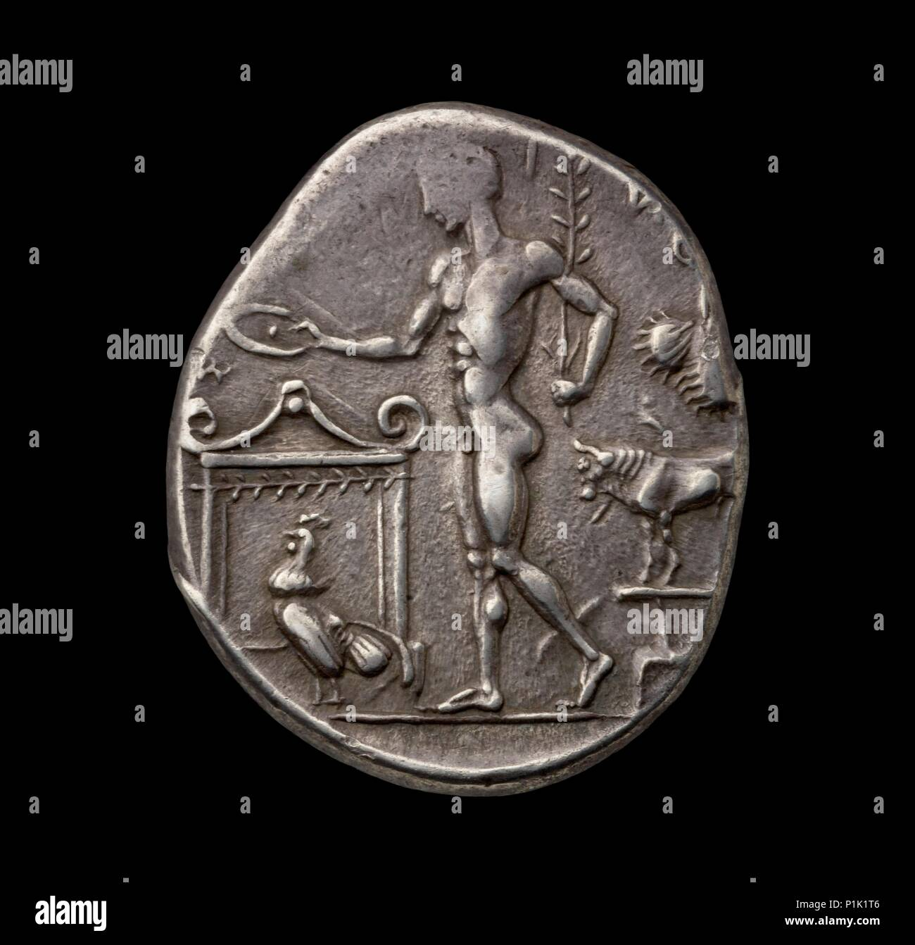 Ancient Greek silver coin, 450 BC.  Dimension: diameter: 31 mmweight: 17.27 gdie-axis: 8 o'clock - Stock Image