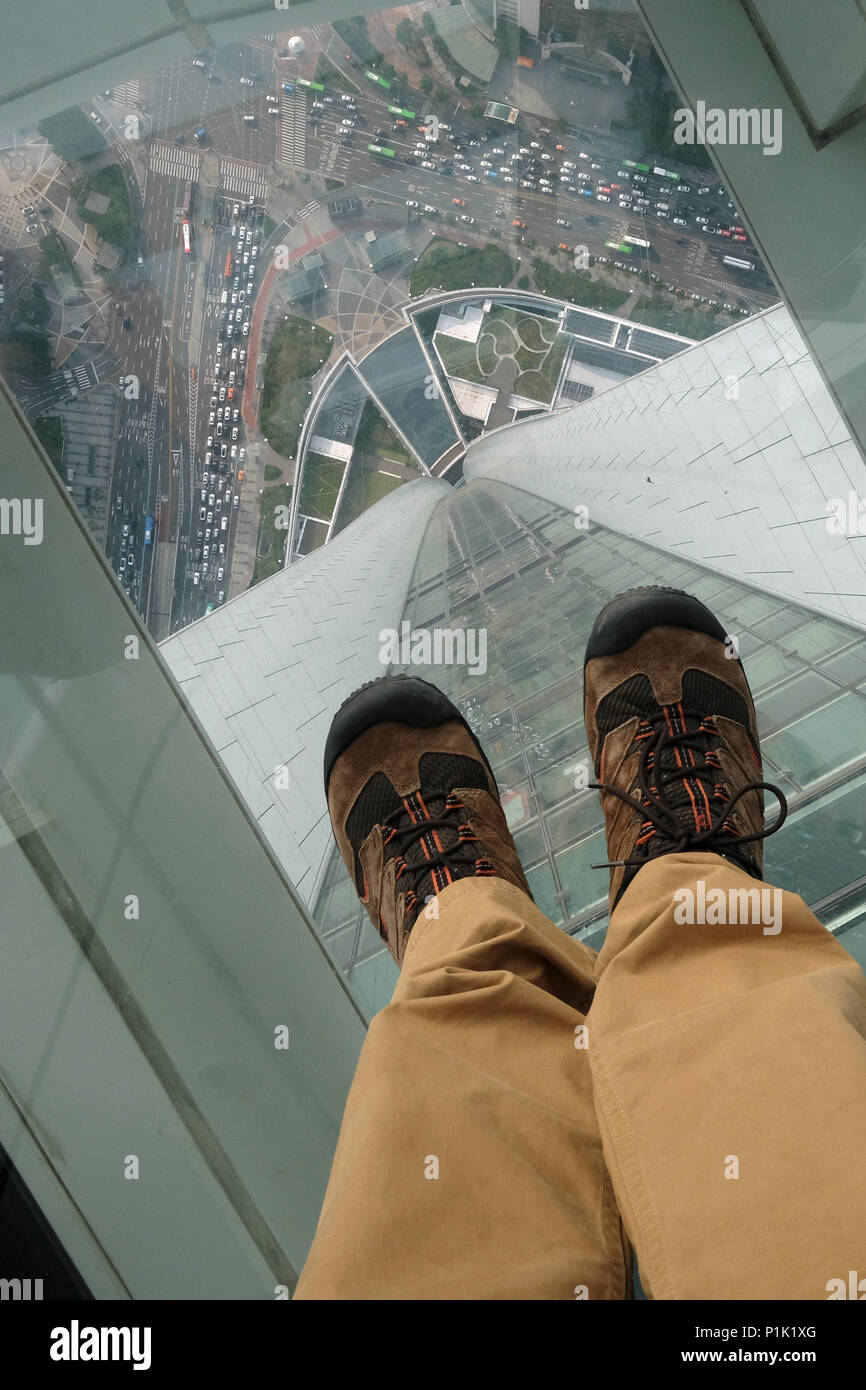 View Through The Glass Floor Observatory Of Lotte World Tower A