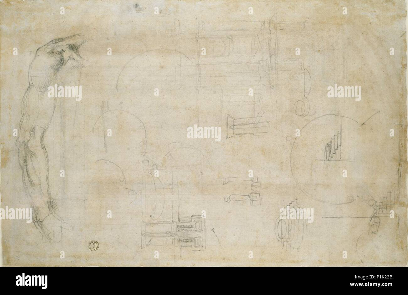 Verso: Study of a Man's Arm and some architectural sketches, c1490-1560. Recto: Design for a window - Stock Image