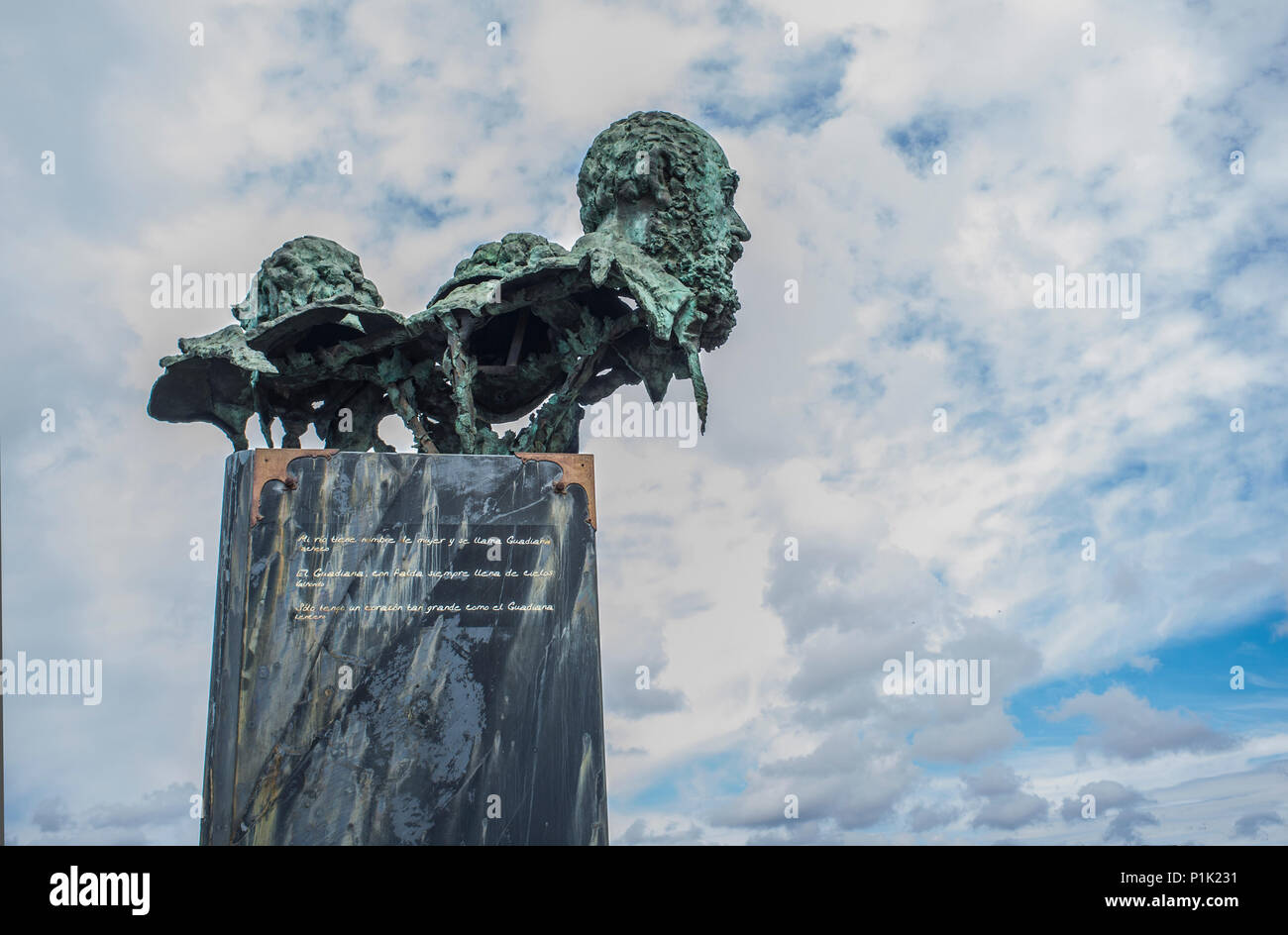 Badajoz, Spain - May 25th, 2018: The three poets sculpture at Autonomy Bridge roundabout.  By sculptor Luis Martinez Giraldo - Stock Image