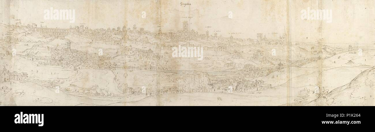 Panoramic View of Segovia from the East, c1550-1560. - Stock Image