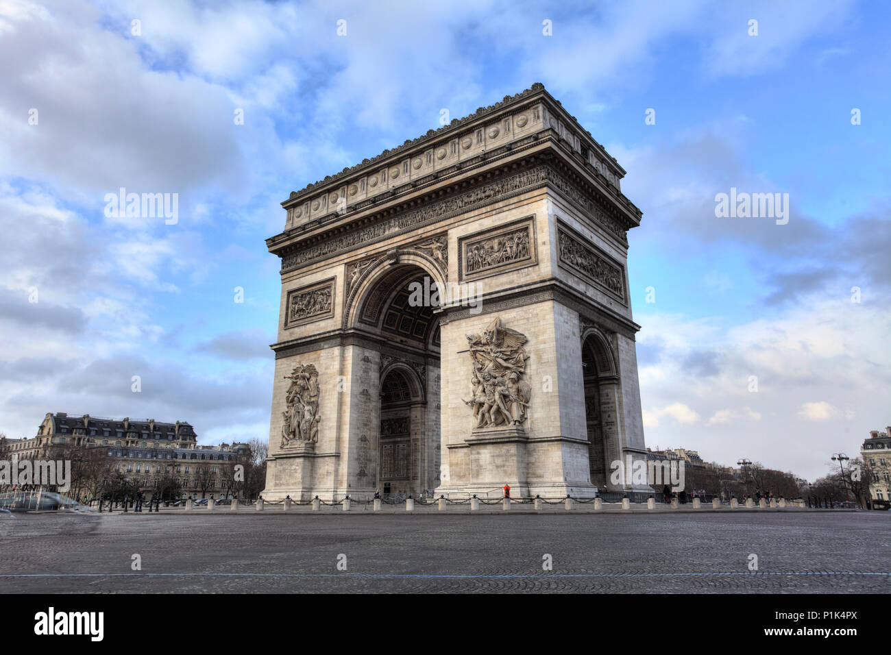 Arc de Triomphe against nice blue sky - Stock Image