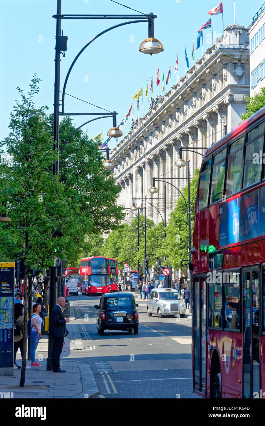 Busy and crowded Oxford Street on a hot summers day central London England UK - Stock Image
