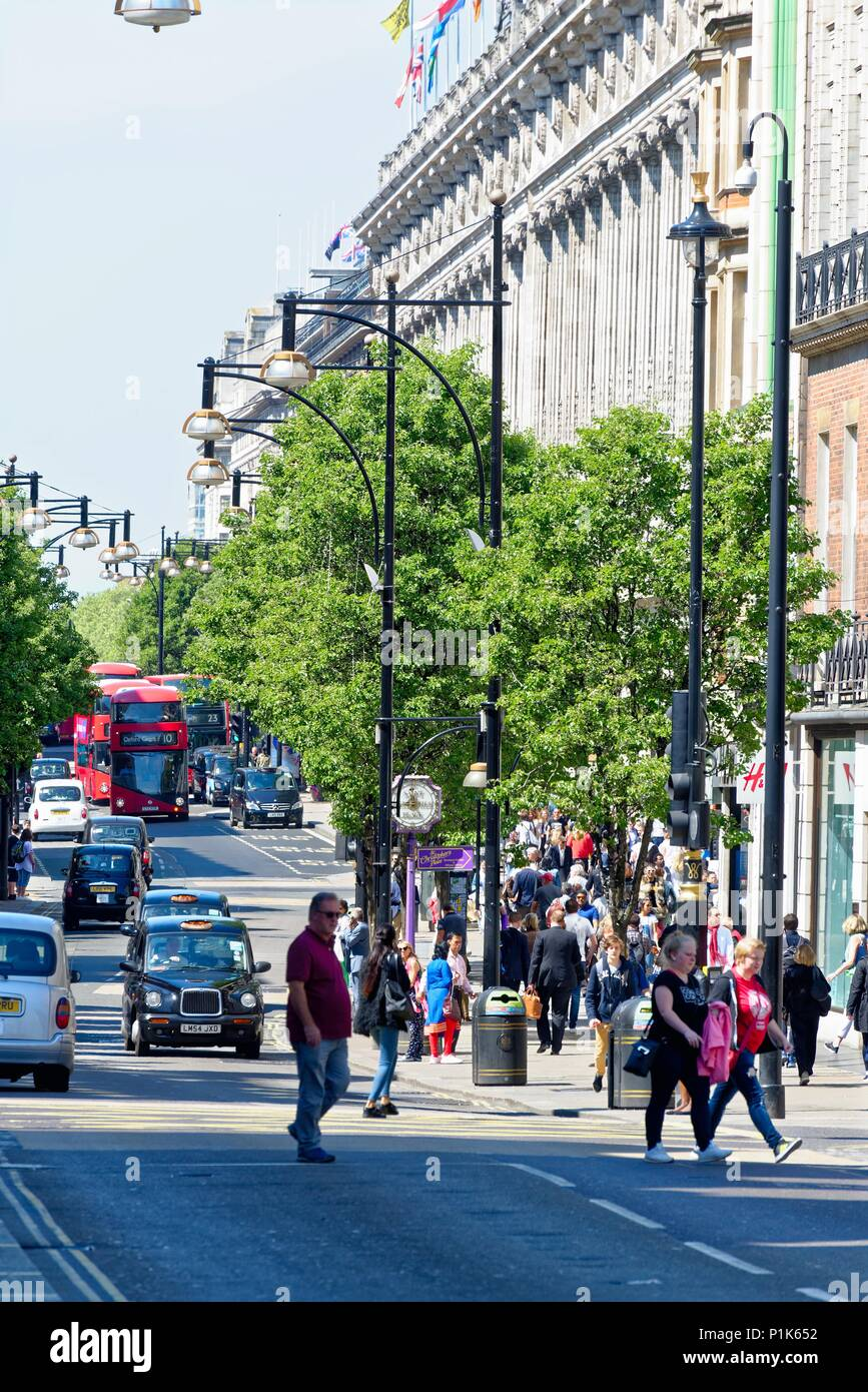 Busy Oxford Street in London's West End  on a hot summers day England UK - Stock Image