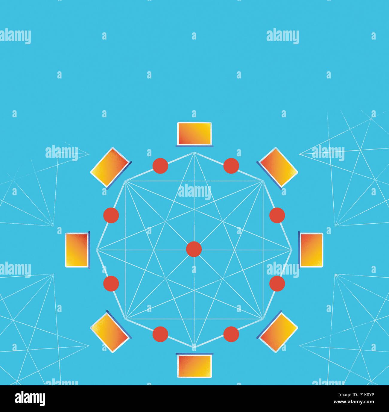 Conceptual Block chain computer network Stock Photo