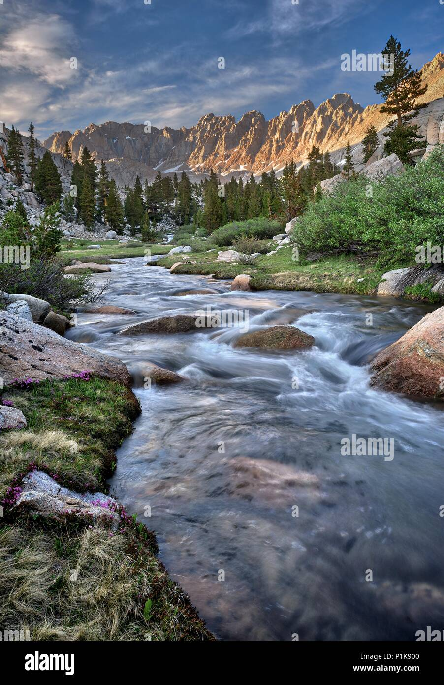 Rock Creek in the Miter Basin, Sequoia National Park, California, America, USA Stock Photo