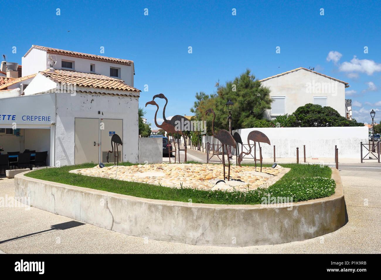 Flamingo Street sculptures Saint Maries de la Mer - Stock Image