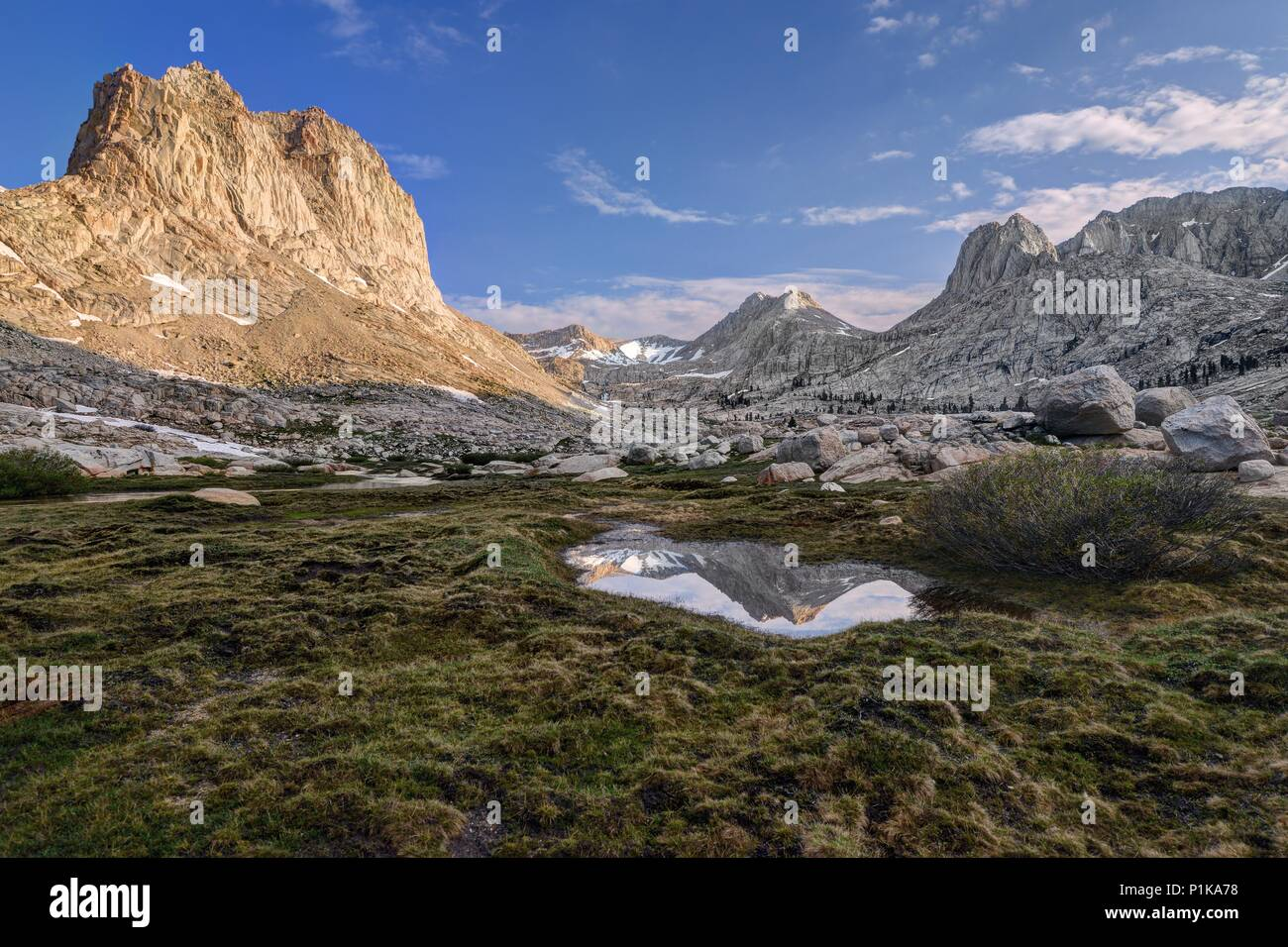 Mount McAdie Reflection in the Miter Basin, Sequoia National Park, California, America, USA Stock Photo