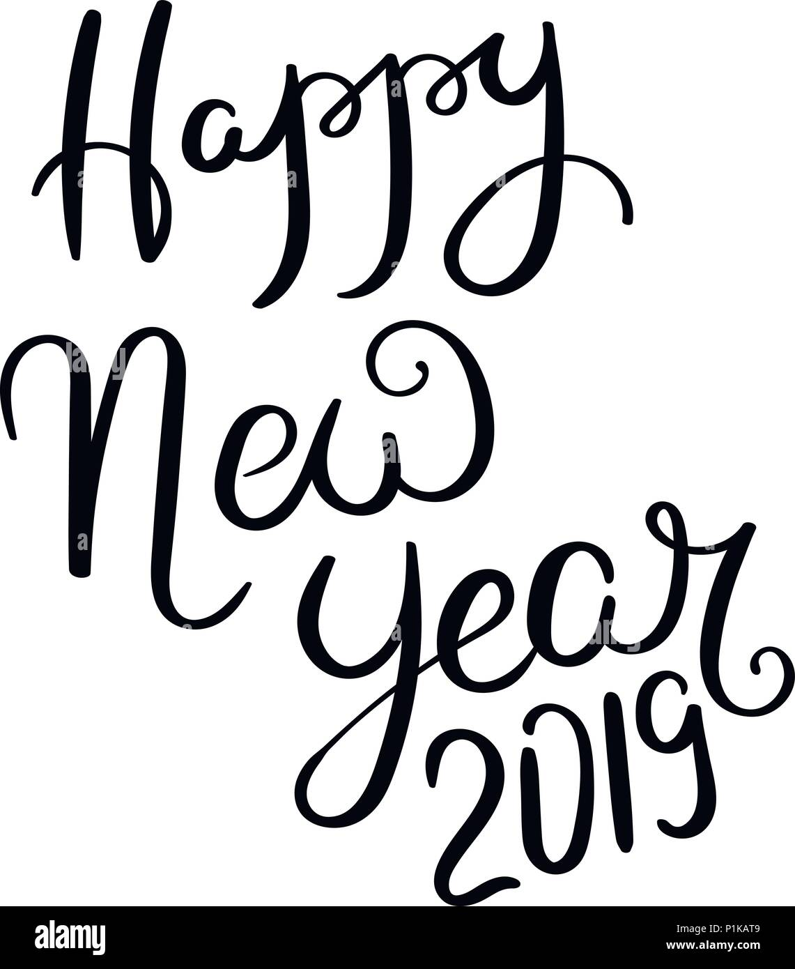 Happy new year 2019. Hand drawn vector lettering phrase. Modern ...
