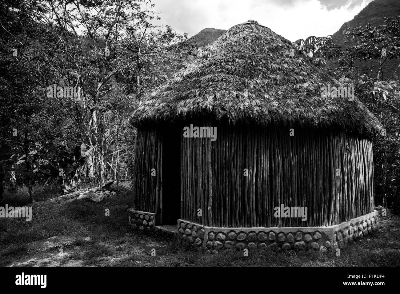 A hut in Los Jardines del Mandor near Machu Picchu in Per. - Stock Image