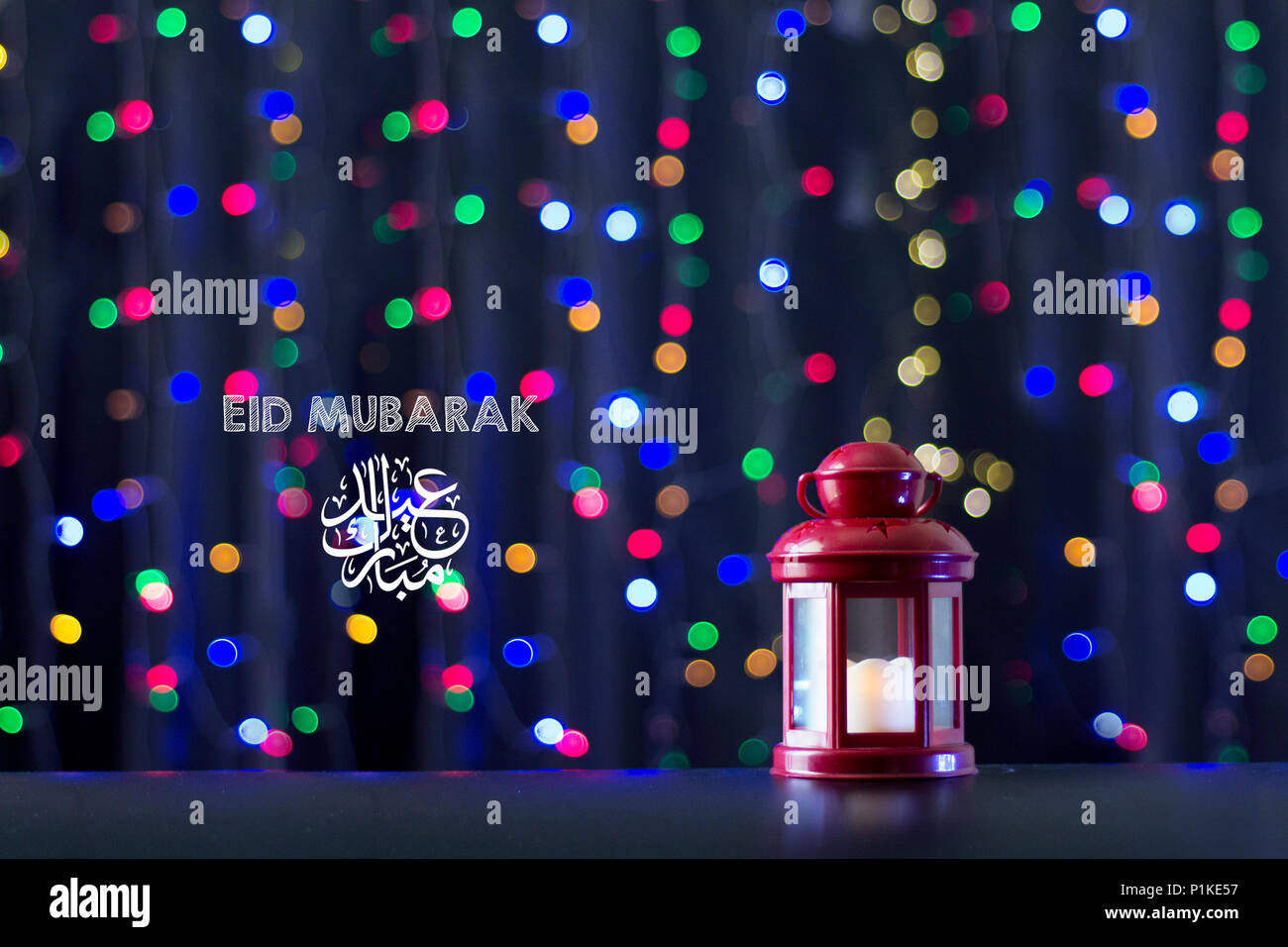 Eid al fitr mubarak greeting typography with bokeh backgound eid al fitr mubarak greeting typography with bokeh backgound antique fanoos and islamic prayer beads on wooden board m4hsunfo