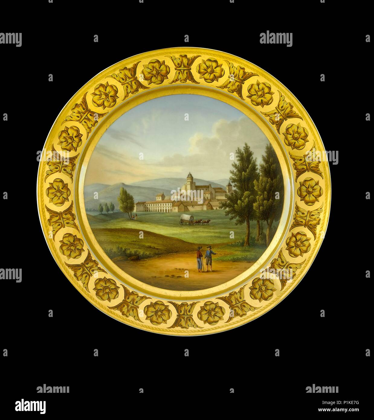 Dessert plate depicting the battlefield of Vitoria, Spain, 1810s. Item in Apsley House, London, from the Wellington Museum. Part of a dinner service w - Stock Image