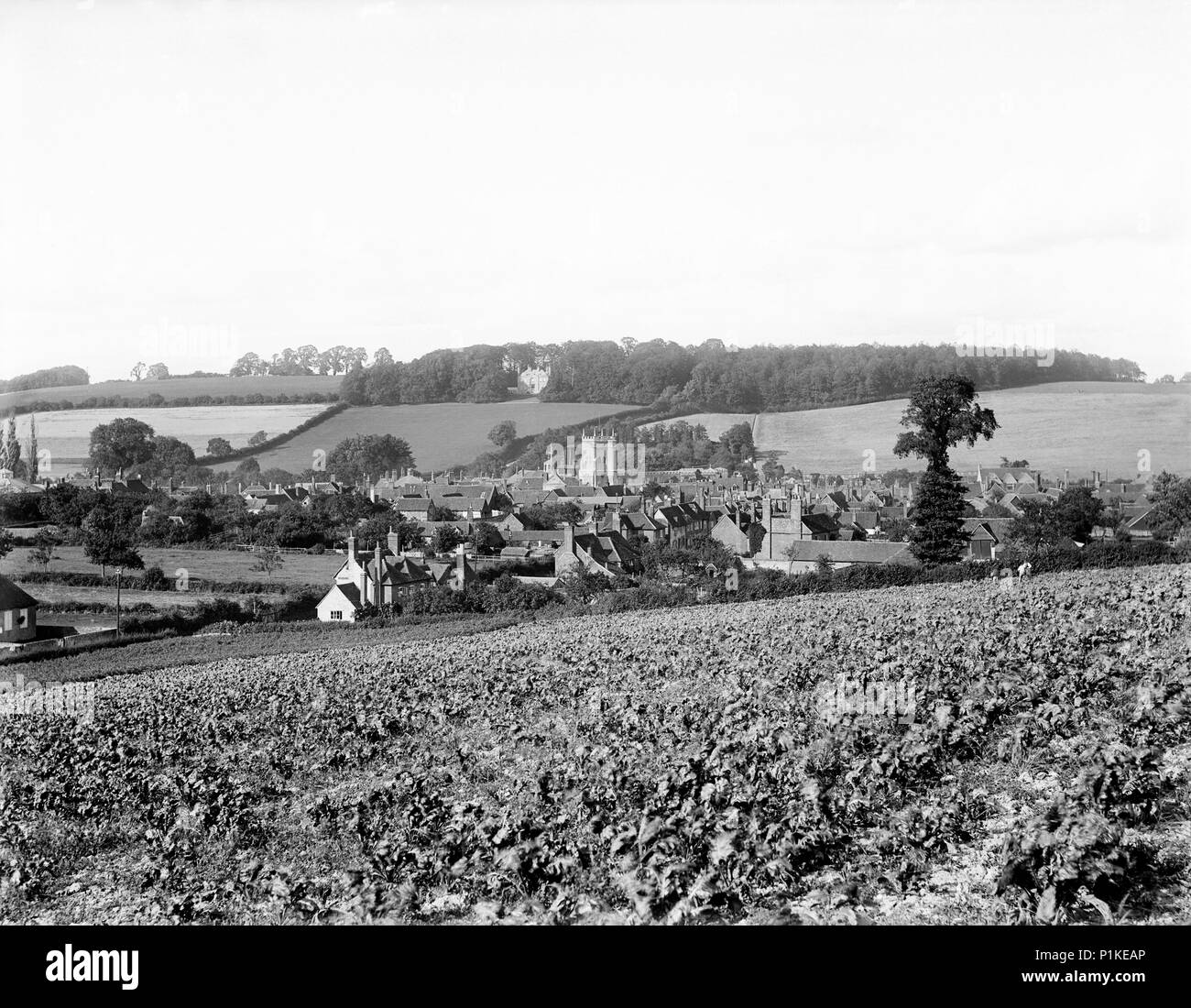 Amersham, Buckinghamshire, c1860-c1922. A view of the town, lying in the valley of the Misbourne, showing the tower of St Mary's Church. In 1892, the  - Stock Image